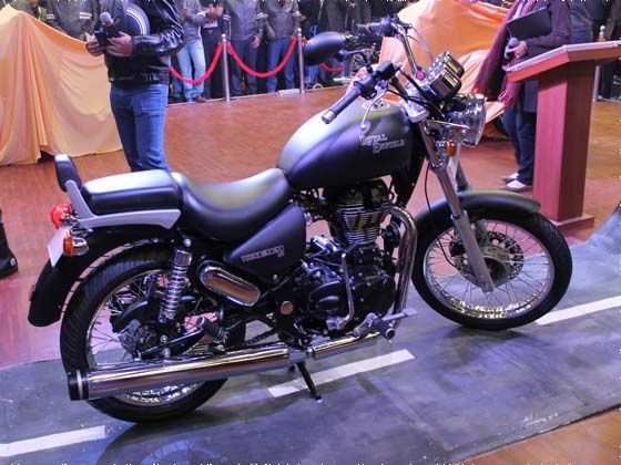 Royal Enfield bikes on showcase at the 2012 Auto Expo