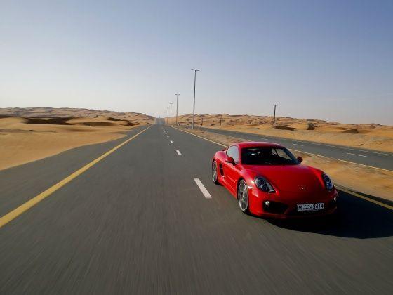 Porsche Cayman straight line