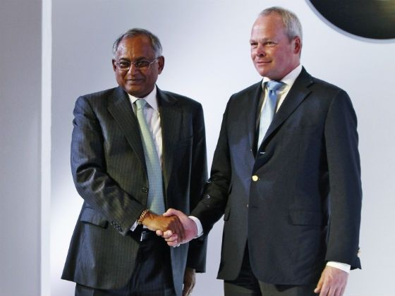 Venu Srinivasan and Stephan Schaller of TVS and BMW during the announcement of joint venture between the two wheeler manufacturers
