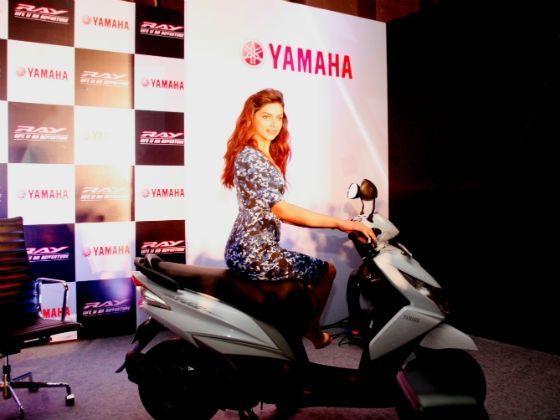 Deepika Padukone on the Yamaha Ray in new white colour