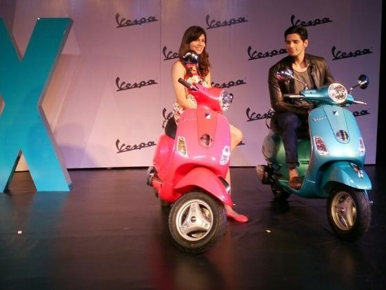 Vanya Mishra and Siddharth Malhotra at the launch of the new Vespa VX