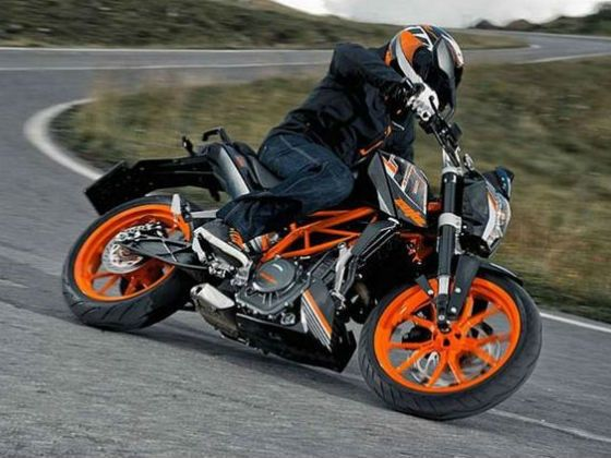 New KTM 390 Duke black action shot