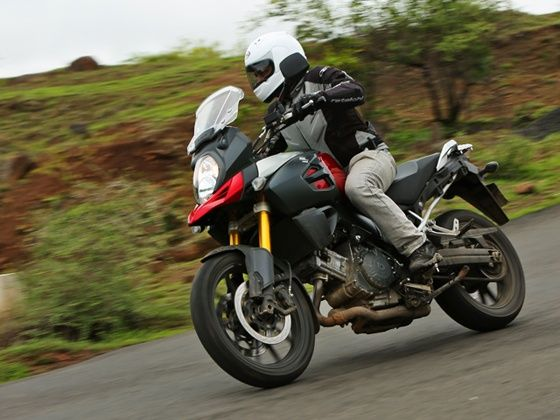 Suzuki V-Strom red motorcycle riding in India