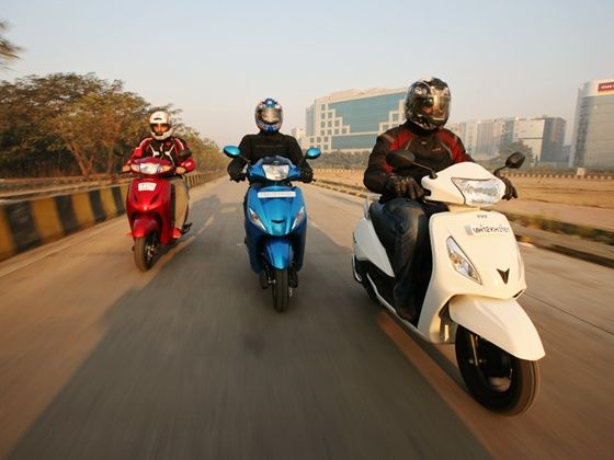 TVS Jupiter vs Honda Activa vs Hero Maestro action shot