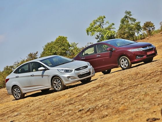 Honda City and Hyundai Verna front stills
