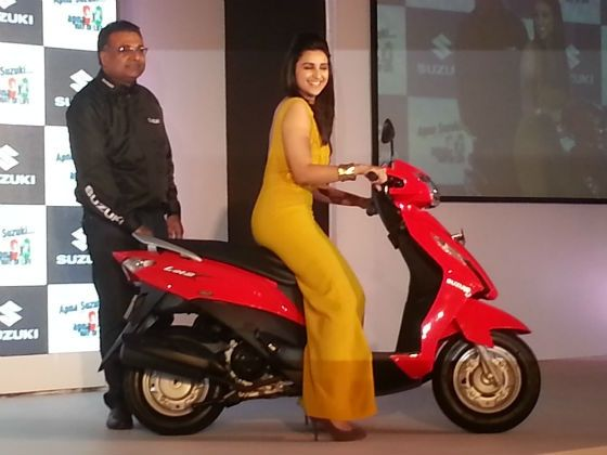 Parineeto Chopra poses with the new Suzuki Lets sccoter