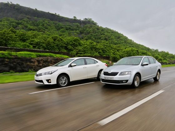 Toyota Corolla Altis and Skoda Octavia petrol in action