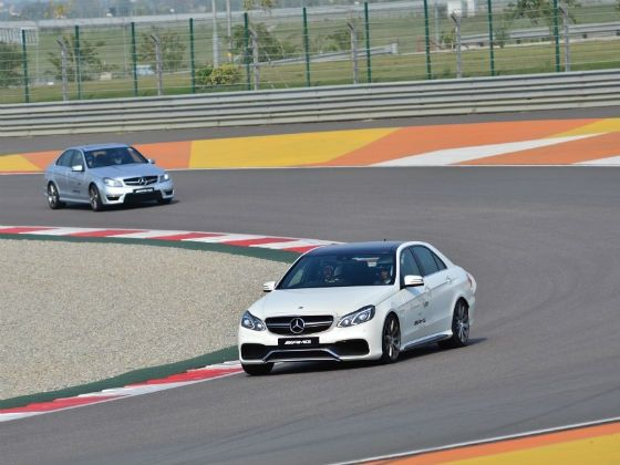 Mercedes E 63 AMG in action at the Buddh International Circuit