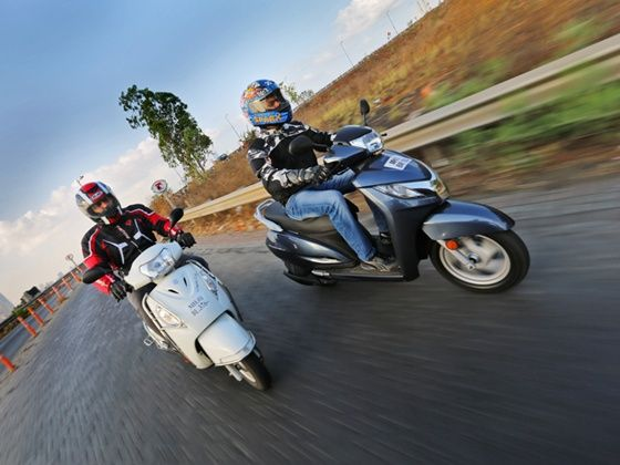 Suzuki Access 125 and the Honda Activa 125 in action