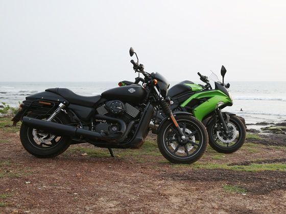 Harley Davidson Street 750 and Kawasaki Ninja 650