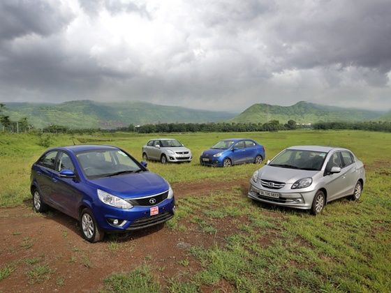 Zest vs Dzire vs Amaze vs Xcent petrol comparison front