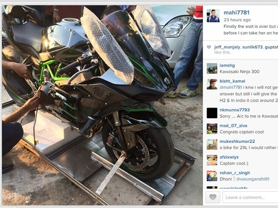 Ms Dhoni Buys Kawasaki Ninja H2 Superbike Zigwheels