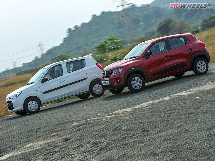 Renault Kwid vs Maruti Alto action pic