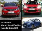 Tata Bolt vs Maruti Swift vs Hyundai Grand i10 Spec Comparison