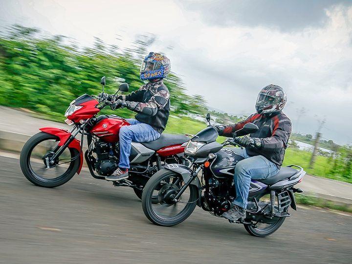 Yamaha Saluto vs Honda CB Shine action
