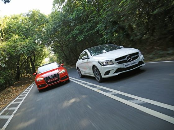 Mercedes Benz CLA vs Audi A3 diesel front tracking