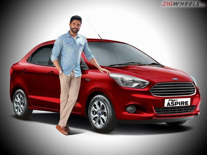 Brand ambassador Farhan Akhtar with Ford Figo Aspire sedan