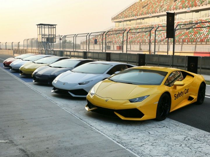 Lamborghini Huracans and Aventadors at the BIC