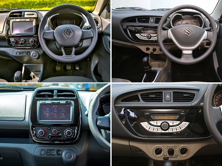 renault kwid vs maruti suzuki alto k10 exterior interior features and space comparison. Black Bedroom Furniture Sets. Home Design Ideas