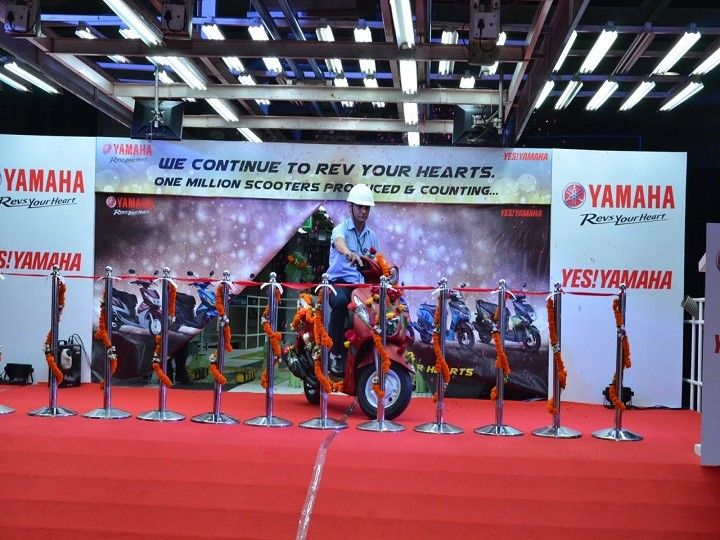 The Fascino that marked the million scooter production milestone for Yamaha India