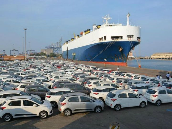 hyundai cars lined up to loaded on transport vessel