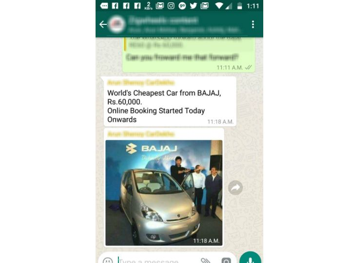 Bajaj Qute Fake News