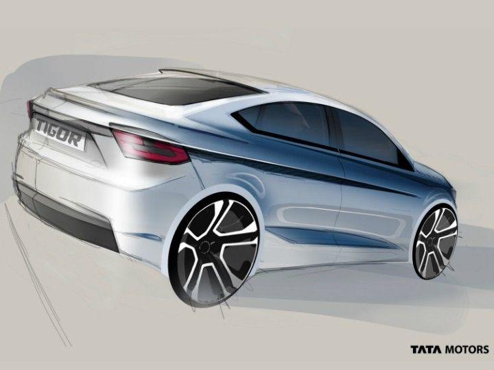 2017 Tata Tigor Sketch Rear Quarter