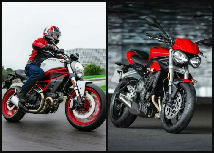 spec comparison: ducati monster 797 vs triumph street triple s