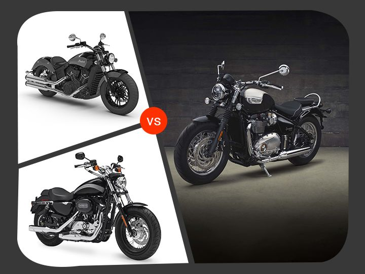 Triumph Bonneville Speedmaster Vs Indian Scout Sixty Vs Harley-Davidson Sportster 1200 Custom: Spec Comparison