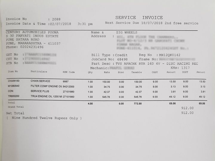 TVS Apache RTR 160 4V Carb Service Bill