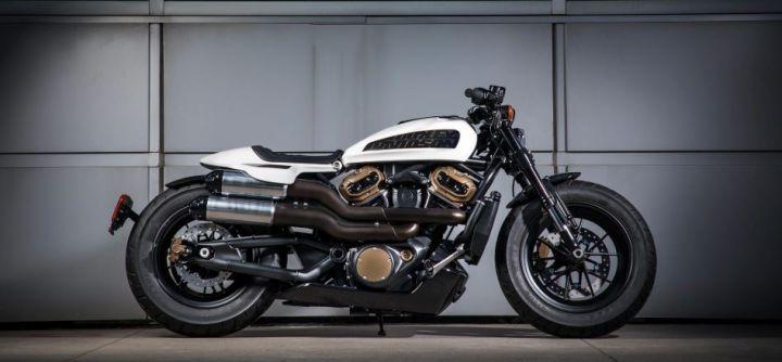 H D 1250cc Custom side angle