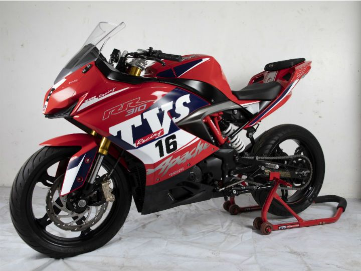 Race spec TVS Apache RR 310 front right angle
