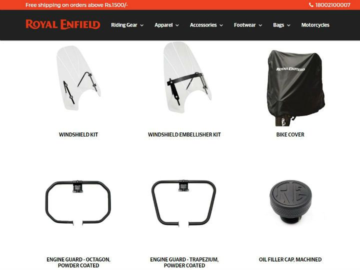 Royal Enfield Thunderbird 500X Accessories Website screenshot