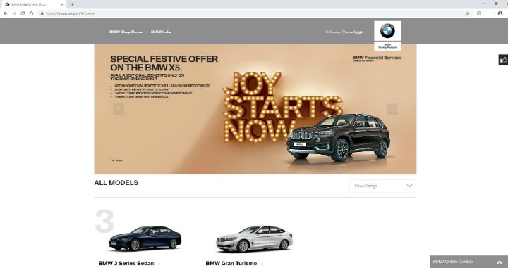 BMW India Launches Online Sales Portal