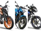 KTM 125 Duke vs Suzuki Gixxer vs Bajaj Pulsar 150 Twin-disc