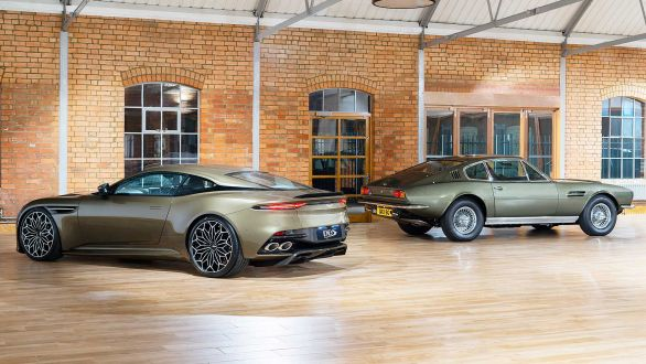 The new DBS Superleggera (left) and the old DBS (right)
