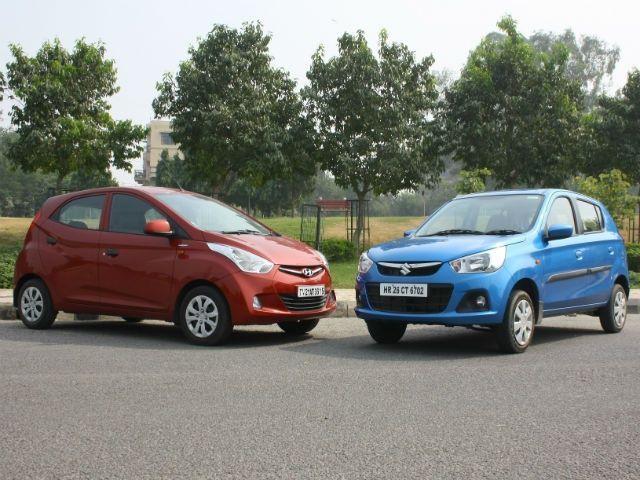 New Maruti Alto K10 vs Hyundai Eon 1.0 front static